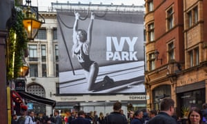 Beyoncé's Ivy Park range being advertised outside Topshop in London.