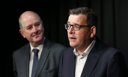 Victorian premier Daniel Andrews (right) with Victorian planning minister Richard Wynne during an announcement of a $600m fund to fix high-risk cladding on hundreds of buildings.