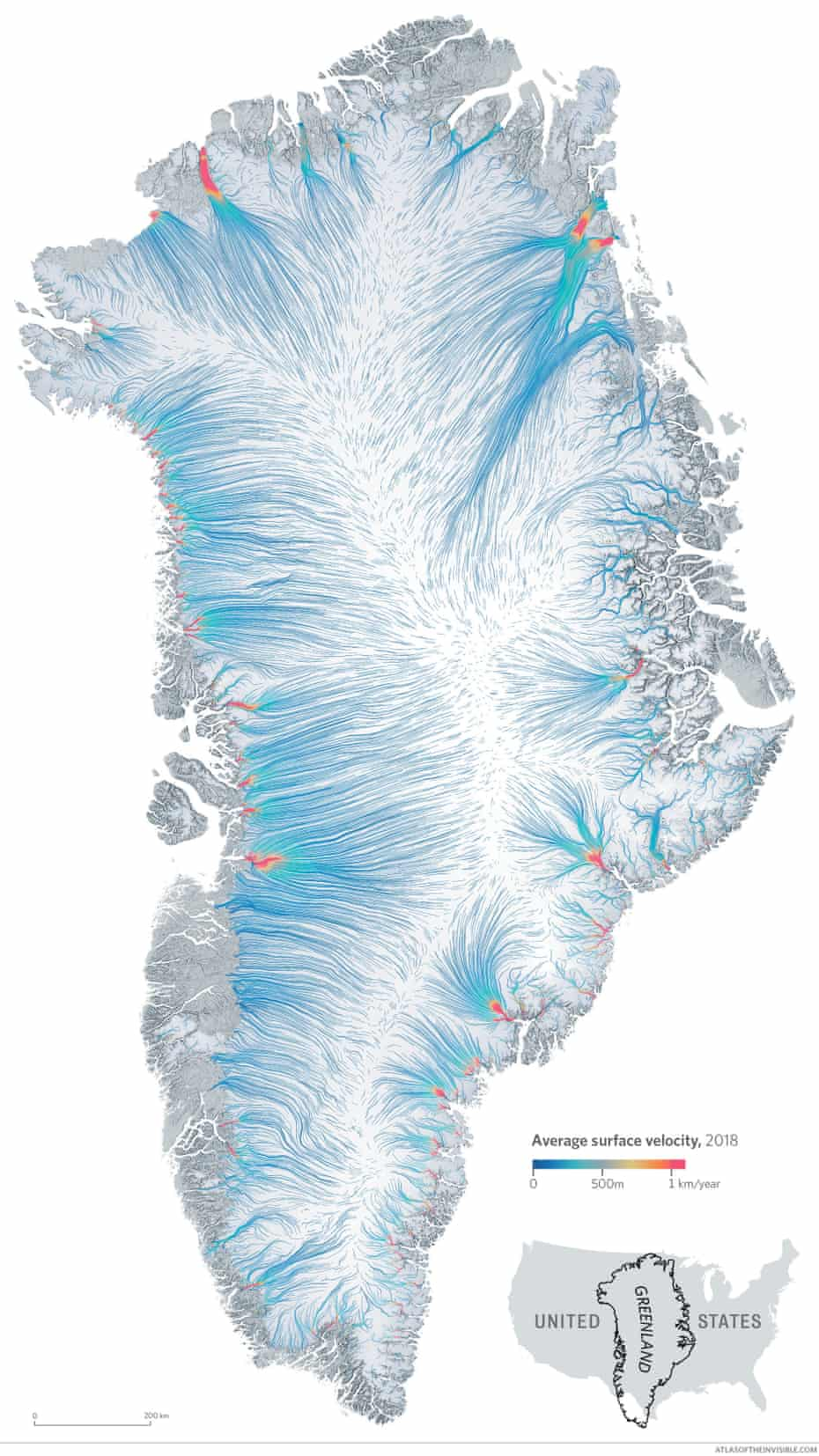 The pace of movement of Greenland's glaciers