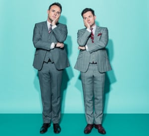 Entertainers Ant (on left) and Dec, standing next to each other with chins on hands
