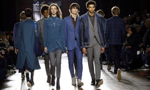 Men and women on the catwalk at the Paul Smith Paris show