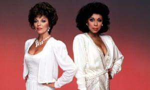 Dynasty star Diahann Carroll as Dominique Deveraux, posing with Joan Collins's Alexis Carrington