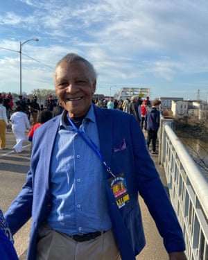 Charles Neblitt, who crossed the bridge at the original march in Selma, remembers the tear gas from 55 years ago.