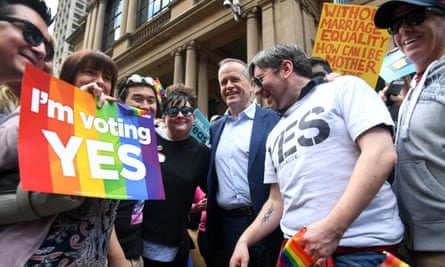 Bill Shorten at the rally in support of marriage equality in Sydney