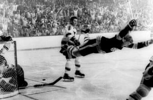 Bobby Orr leaps with joy after scoring the goal that won the 1970 Stanley Cup for the Boston Bruins.