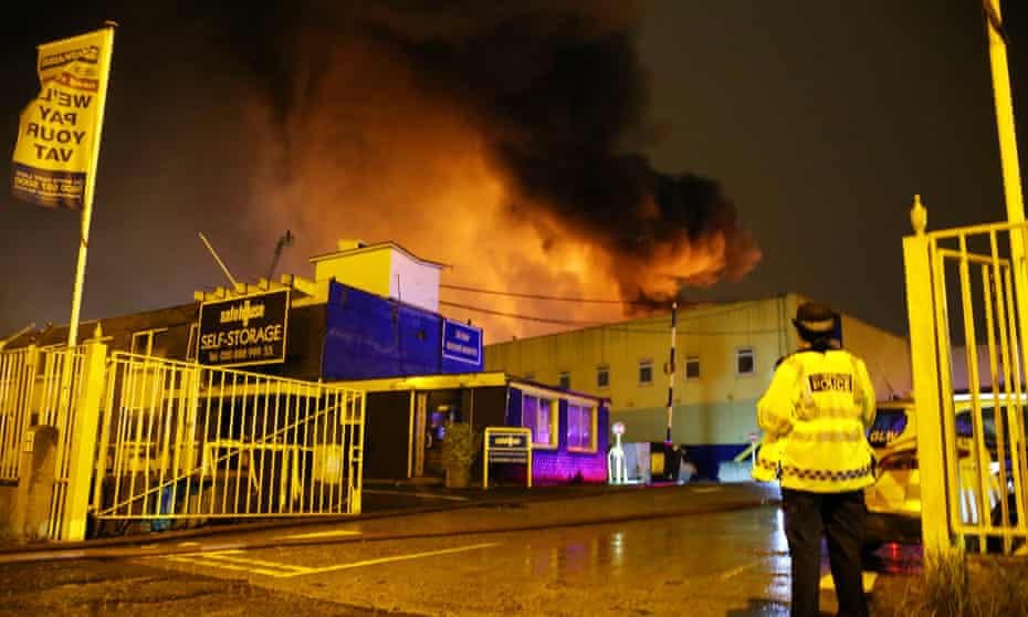 A fire at the Safehouse Self-Storage warehouse in Tottenham, north London, in September 2017.
