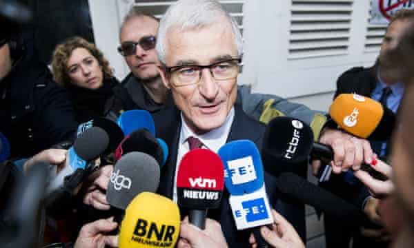 Flemish minister-president Geert Bourgeois leaves the meeting