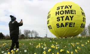 'Stay home! Stay safe!' giant ball