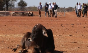 Morrison with ministers and farmers at the Tully farm in Quilpie.