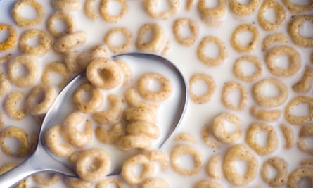 Spoon dipping into a bowl of cereal and milk