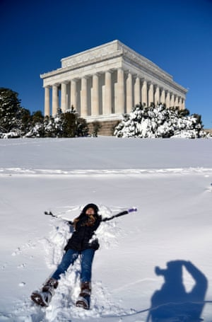Snow angel in front of the Lincoln Memorial in Washington D.C.