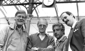 Christopher Morahan, left, with the writer Michael Frayn, producer Michael Codron and actor John Cleese on the set of the film Clockwise in 1986.
