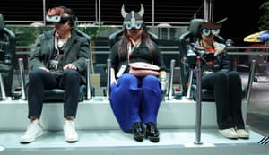 A Ford virtual reality booth is seen during the press preview of the 2019 New York International Auto Show