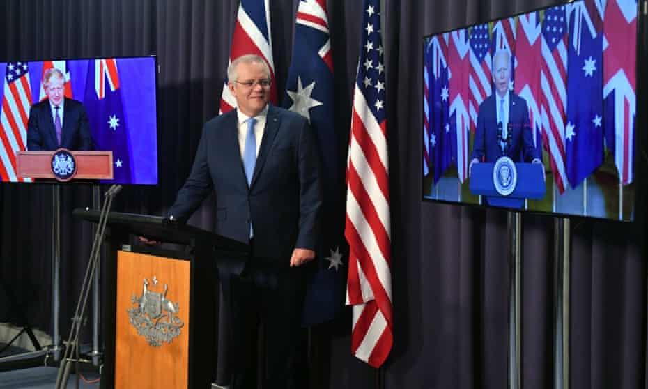 UK prime minister Boris Johnson, Australian prime minister Scott Morrison and US president Joe Biden at a joint press conference announcing the defence pact