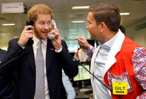London, UK. The Duke of Sussex mans the phones during the 15th BGC annual charity day at Canary Wharf in commemoration of BGC's 658 colleagues and 61 Eurobrokers who were killed in the 9/11 attacks in New York