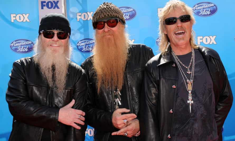 Hill, left, with Billy Gibbons and Frank Beard.