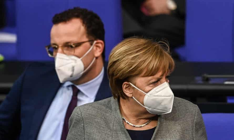 German chancellor Angela Merkel and health minister Jens Spahn in the Bundestag, Berlin.