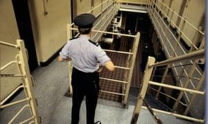 A prison officer at Saughton jail, Scotland.