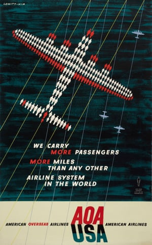 We Carry More Passengers, poster for American Overseas Airlines, 1948 by George Him.