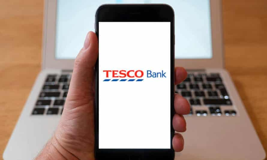 Tesco Bank logo on a smartphone