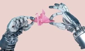 Robot hand making an origami paper cranerobot