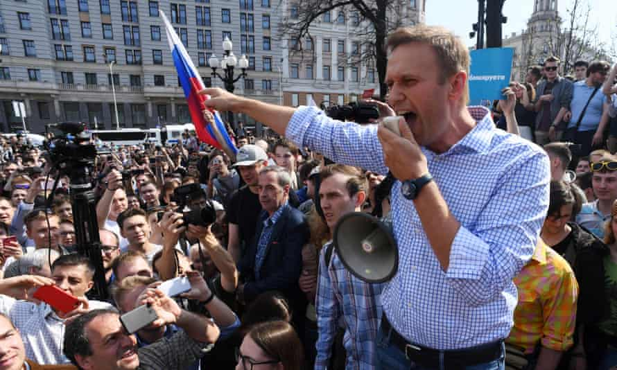 Alexei Navalny addresses supporters during an unauthorised anti-Putin rally in Moscow in May 2018.
