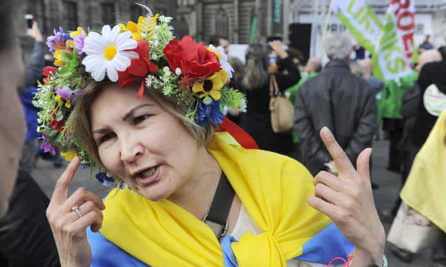 A 'Maidan manifestation' in Amsterdam a few days before the referendum on the association treaty with Ukraine