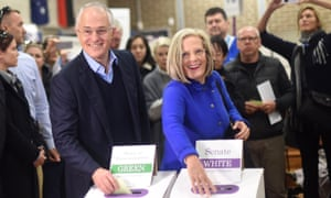 Malcolm Turnbull and his wife Lucy cast their vote at a booth in his electorate of Wentworth in Sydney, 2 July, 2016.