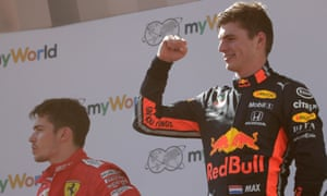 Max Verstappen and Charles Leclerc on the podium