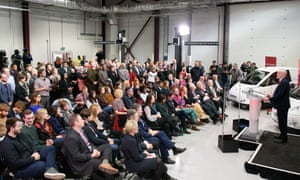 Labour leader Jeremy Corbyn (R) makes a keynote speech as he sets out Labour's position on Brexit, at the National Transport Design Centre on February 26, 2018 in Coventry, England.