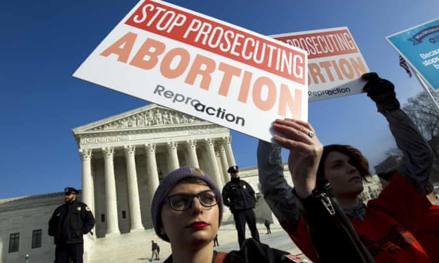 Abortion rights activists protest outside the US supreme court in January 2019.