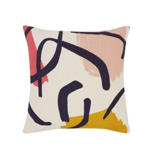 Beige cushion with yellow, pink and violet details