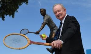 Australian tennis legend Rod Laver unveils a larger-than-life statue of himself