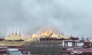 Fire at the Jokhang temple in the Tibetan capital, Lhasa.