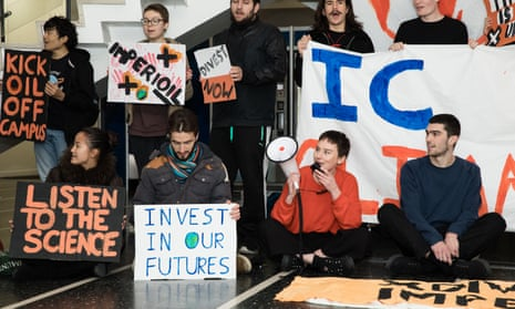 A protest by Divest Imperial at Imperial College, London on 21 November, as part of People & Planet's Fossil Free Day of Action.