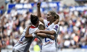 Ada Hegerberg celebrates with Lucy Bronze and Delphine Cascarino after scoring against Chelsea in last season's Champions League semi-final.