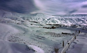 Aerial view of the snow covered mountains of the Cedars area in the Lebanese mountains north of Beirut.