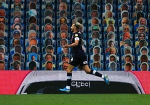 Luton Town's Harry Cornick celebrates at Elland Road.