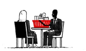 Illustration by David Foldvari of a couple eating from a shopping basket in a restaurant.