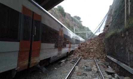 Scene of train derailment in Catalonia