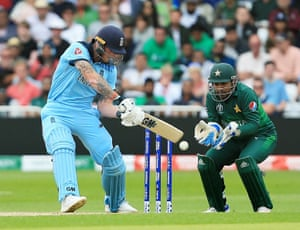 Ben Stokes of England clips the ball to Sarfraz Ahmed of Pakistan to lose his wicket.