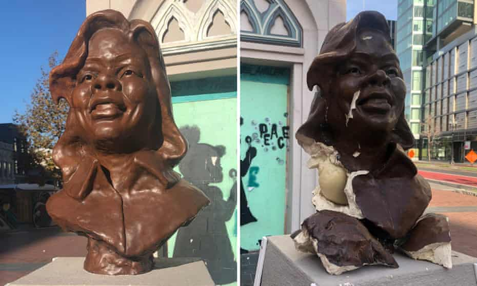 Breonna Taylor statue by Leo Carson that has been vandalised, seen before and after. Taylor was fatally shot when police broke down her door in the middle of the night.