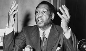 Paul Robeson addressing the World Conference of Partisans of Peace in Paris in 1949.