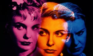 Joanne Woodward's face in three colours and overlapping slightly
