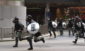 Riot police during an anti-government protest in Hong Kong, January 2020.