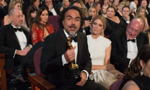 'Jenny Beavan is a masterful costume designer and very deserving of the Oscar' … Alejandro González Iñárritu with his best director award on Sunday night.