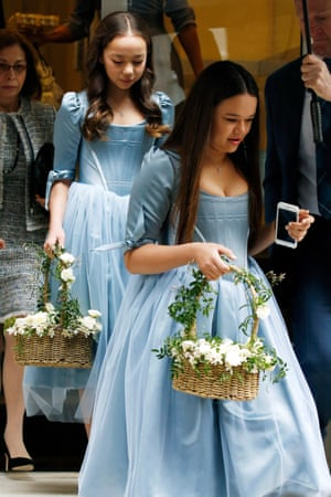 Chloe and Grace Helen Murdoch seen at their father Rupert's home on the way to his wedding to Jerry Hall.