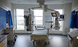 An intensive care bed at the Northumbria specialist emergency care hospital.