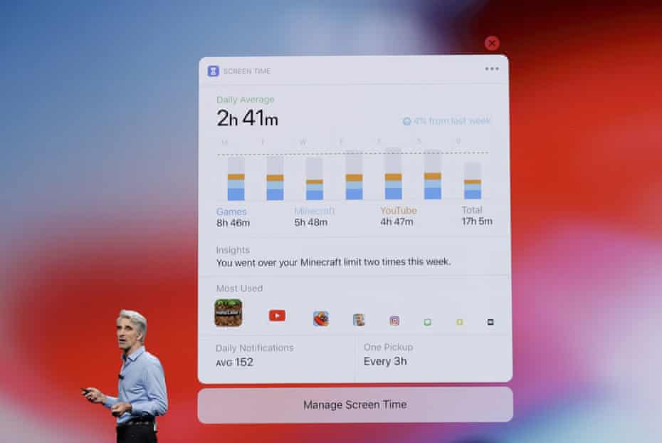 Craig Federighi, Apple's senior vice-president of software engineering, describes 'Screen Time'.