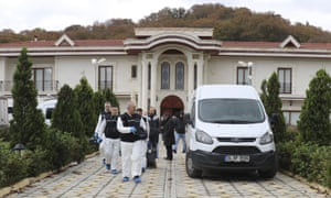 Turkish police at a villa being searched in Turkey